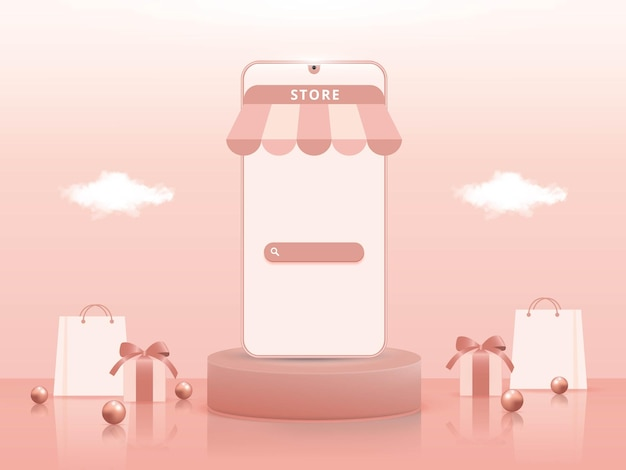 3d-online-shopping auf mobilen anwendungen oder website-konzepten
