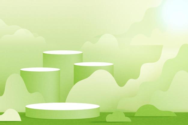 3d-papier geschnitten abstrakte minimale geometrische form background.green zylinderpodium auf naturlandschaft