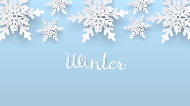 3d papierschnitt schneeflocke winter hintergrund