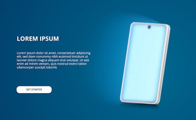 3d-perspektivische smartphone-modellabbildung mit leuchtendem blaulichtbildschirm