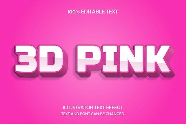 3d pink, 3d bearbeitbarer texteffekt 3d schatten prägen modernen stil