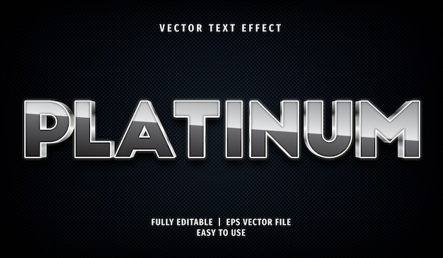 3d-platin-texteffekt, bearbeitbarer textstil