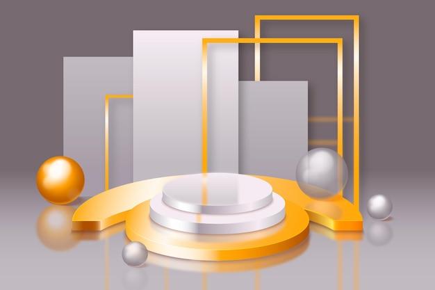 3d-podesthintergrund mit goldenen elementen