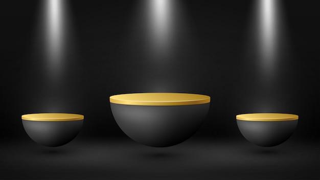 3d-podesthintergrund mit lichteffekt