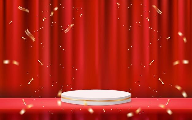 3d-podesthintergrund mit rotem vorhang und konfetti