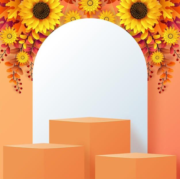 3d-podium-hintergrundprodukte mit geometrischen formen herbstferien saisonaler hintergrund