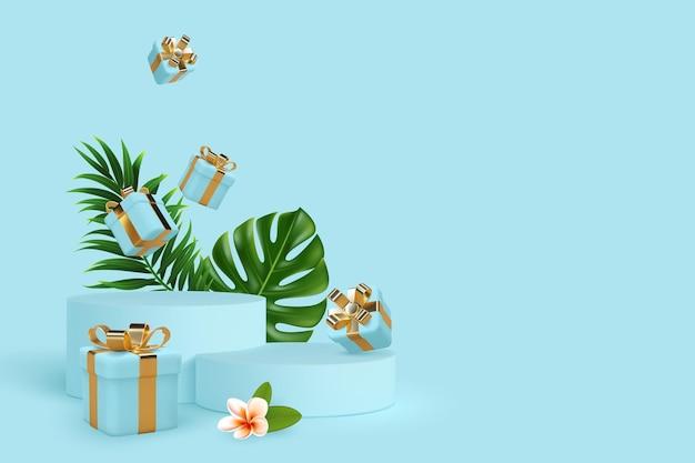 3d-podium-szene mit fallenden geschenkboxen und tropischen blättern.