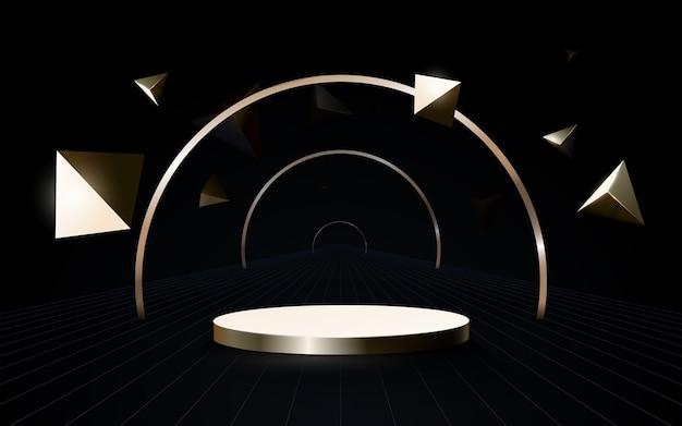 3d-podiumskomposition. minimaler geometrischer futuristischer technologiekonzepthintergrund des abstrakten goldes.