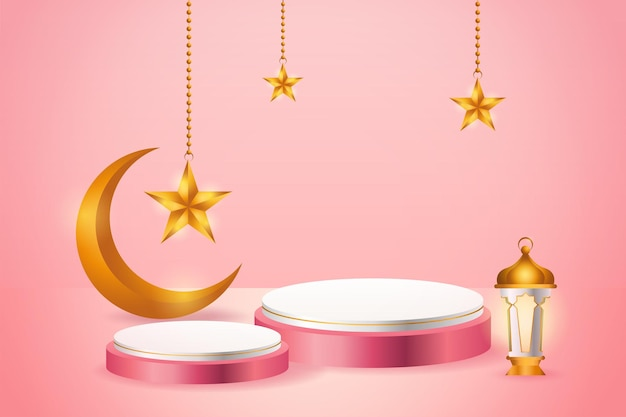 3d produktanzeige rosa und weiß podium thematisch islamisch mit halbmond, laterne und stern für ramadan