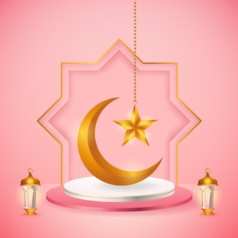 3d produktanzeige, rosa und weißes podium unter dem motto islamisch mit halbmond, laterne und stern für ramadan