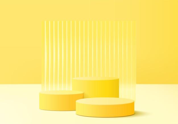 3d-produktdisplay-hintergrundplattform mit gelbem licht modern. hintergrund vektor 3d-rendering palmblätter podium-plattform. stand zeigen kosmetisches produkt. bühnenshow auf sockel modernes lichtstudio