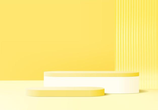 3d-produktdisplay-hintergrundplattform mit glaswand gelbes licht modern. podiumsplattform des hintergrundvektors 3d-rendering. stand zeigen kosmetisches produkt. bühnenshow auf sockel modernes lichtstudio