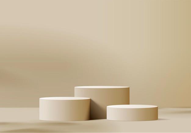 3d-produkte zeigen podiumszene mit geometrischer plattform an. 3d-rendering mit podium. bühnenvitrine auf sockeldisplay beige