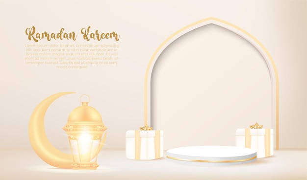 3d ramadan kareem banner mit goldener lampe und podium