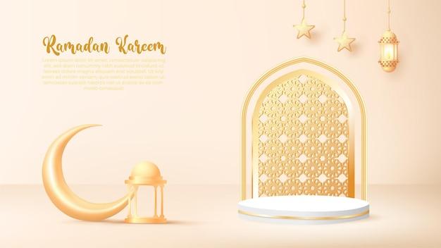 3d ramadan kareem hintergrund mit goldener lampe und podium.