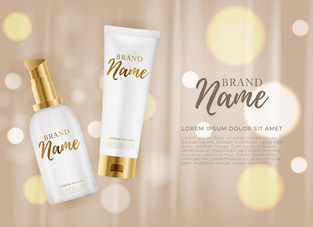 3d realistic natural beauty kosmetikprodukt für die gesichts- oder körperpflege auf glänzendem bokeh-hintergrund