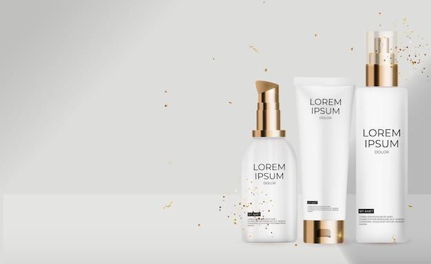 3d realistic rose pastell cream bottle kollektion. design-vorlage für modekosmetik-produkt