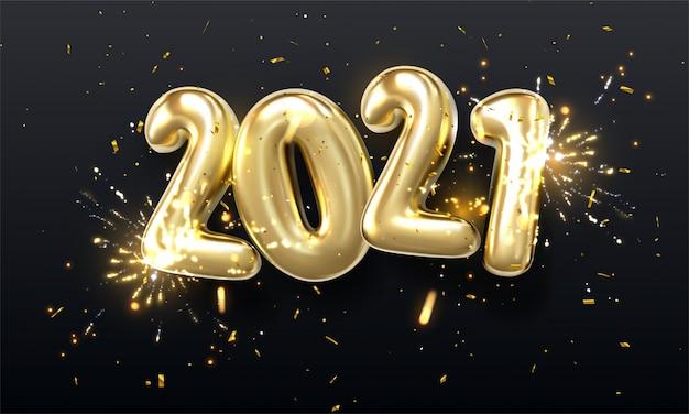 3d realistisch isoliert mit goldenen gelkugeln angeordnet als nummer zweitausendzwanzig, 2021, neujahrsballons mit lametta, um ihr design, weihnachten, anzeigen zu verzieren