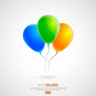 3d realistische bunte luftballons isoliert