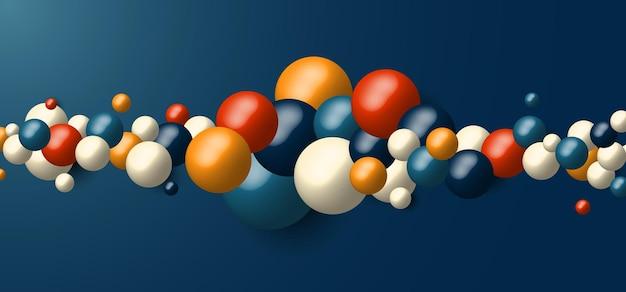 3d realistische dynamische formen vieler geometrischer kugeln auf blauem hintergrund.