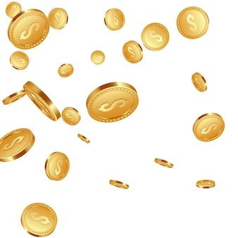 3d realistische fallende goldene metallmünzen, dollarzeichen.
