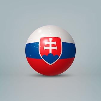 3d realistische glänzende plastikkugel oder kugel mit flagge der slowakei