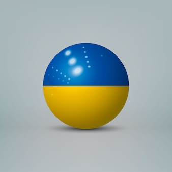 3d realistische glänzende plastikkugel oder kugel mit flagge der ukraine