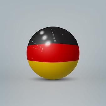 3d realistische glänzende plastikkugel oder kugel mit flagge von deutschland