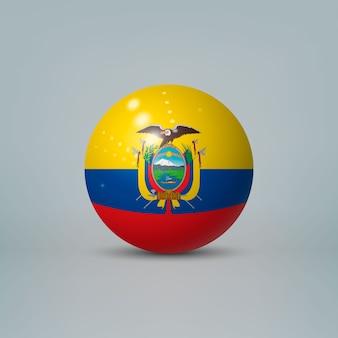 3d realistische glänzende plastikkugel oder kugel mit flagge von ecuador