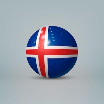3d realistische glänzende plastikkugel oder kugel mit flagge von island
