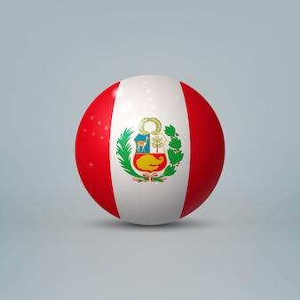 3d realistische glänzende plastikkugel oder kugel mit flagge von peru