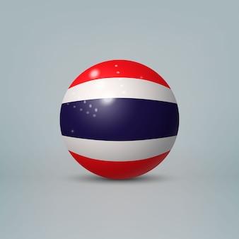 3d realistische glänzende plastikkugel oder kugel mit flagge von thailand