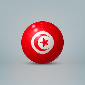 3d realistische glänzende plastikkugel oder kugel mit flagge von tunesien