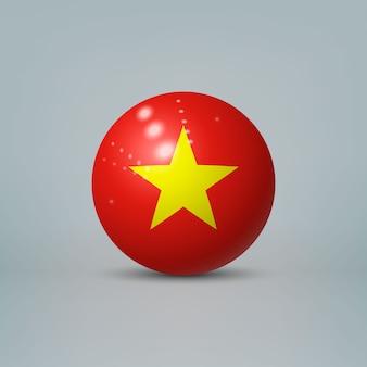 3d realistische glänzende plastikkugel oder kugel mit flagge von vietnam