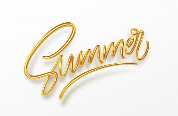 3d realistische golden glänzende metallische sommerhandschriftbeschriftung isoliert
