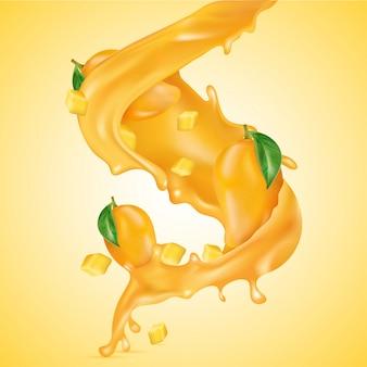 3d-realistische mango-tauchgang in saft-splash