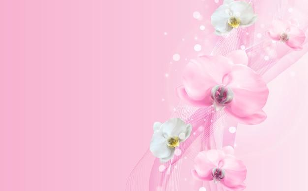 3d realistische natürliche rosa orchideenblumenschablone