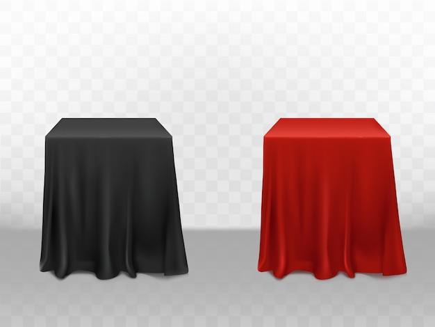 3d realistische rote und schwarze seide tischdecke. leere möbel getrennt auf transparentem hintergrund