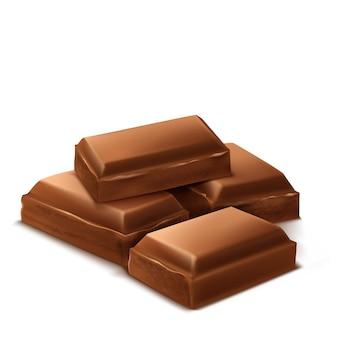 3d realistische schokoladenstücke. brown-köstliche stangen für das verpackenspott oben, paketschablone