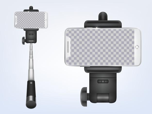 3d realistische selfiestick mit smartphone. transparenter schirm des gerätes für anzeigenplakat, fahne.