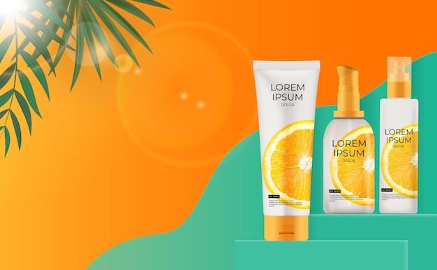 3d realistische sonnenschutzcremeflasche mit palmblättern und orange