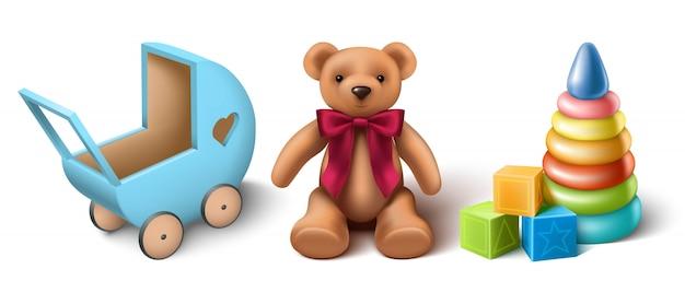 3d realistische vektorsammlung von kinderspielzeug, teddybär, hölzernem kinderwagen, stapler und spielwürfeln. isoliert.