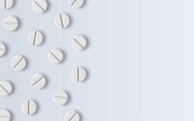 3d realistische weiße medizinische pille, ansicht von oben. designvorlage von pillen, kapseln für grafiken, mockup.