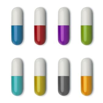 3d realistische weiße medizinische pille, draufsicht.