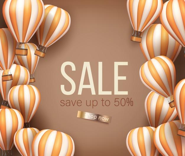 3d realistischer heißluftballon orange und beige farbflyer oder bannerschablone zum verkauf. illustration
