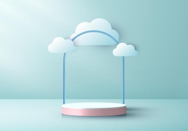 3d realistischer rosa podestzylinder mit wolkenpapierschnitt-stil auf grün-minzfarbenem bühnenhintergrund. sie können für preisverleihungen, produktpräsentationen usw. verwendet werden. vektorillustration