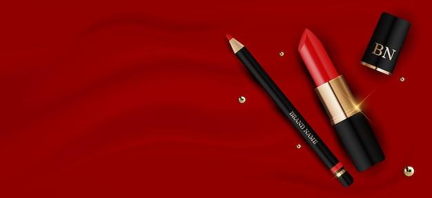 3d realistischer roter lippenstift und bleistift auf roter seiden-entwurfsschablone des modekosmetikprodukts