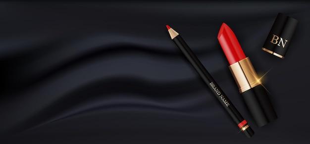 3d realistischer roter lippenstift und bleistift auf schwarzer seiden-design-schablone des modekosmetikprodukts Premium Vektoren
