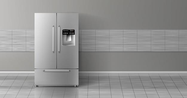 3d realistischer spott oben mit dem grauen zweikammerkühlschrank, der auf fliesenwand lokalisiert wird.