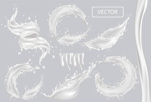 3d realistischer spritzer milch. verdrehte frische milch mit tropfen auf transparentem hintergrund. coctail milch. joghurt, dessert. set illustration